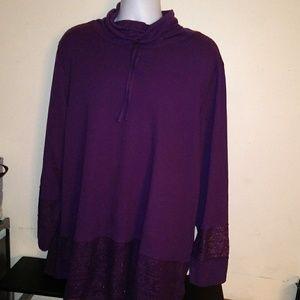 New 4X dark purple pullover lace turtle neck